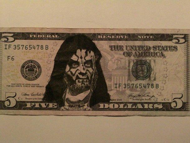funny defaced dollar bill